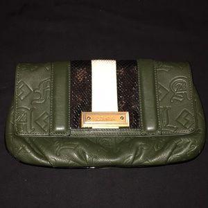 L.A.M.B. leather Hunter green snake clutch 🐍🔥